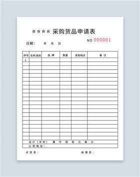 采购货品申请表联单