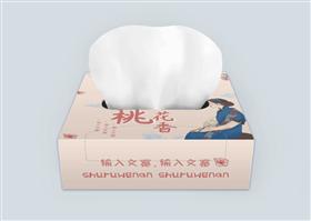 文艺复古桃花纸巾盒